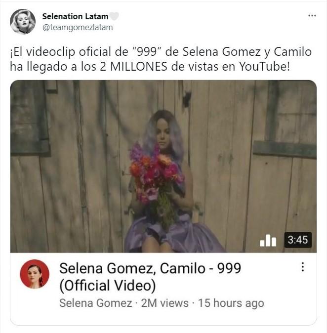 Tuit colaboración Selena Gomez y Camilo 999;