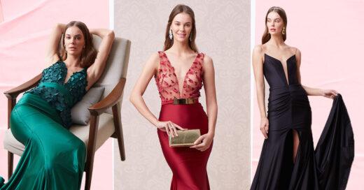 Mujeres usando vestidos de fiesta largos, elegantes de la tienda Liverpool