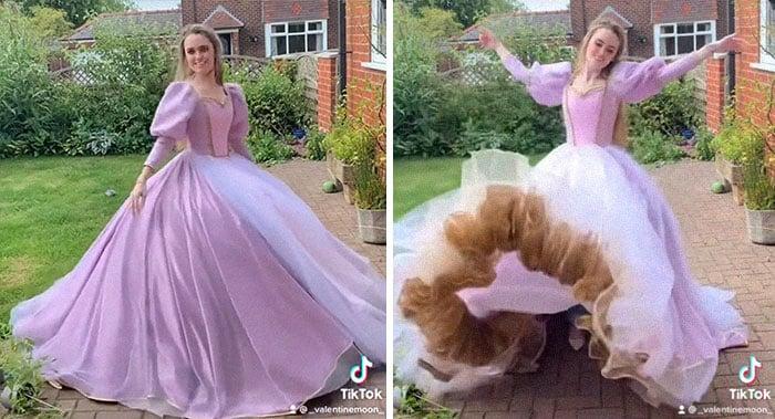 Rapunzel; Vestidos inspirados en Barbie y Princesas Disney