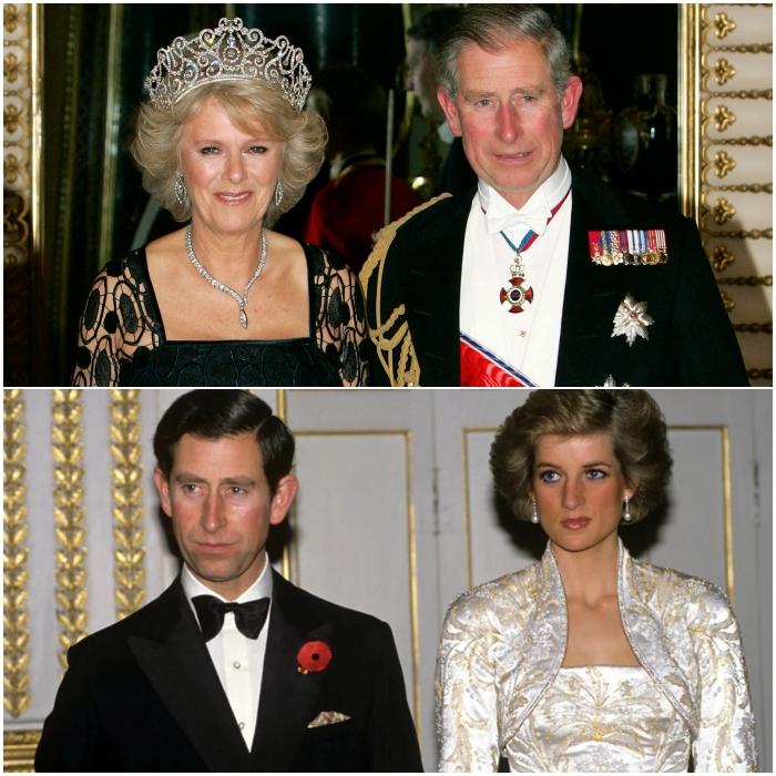Camila Parker-Bowles y príncipe Carlos y princesa Diana