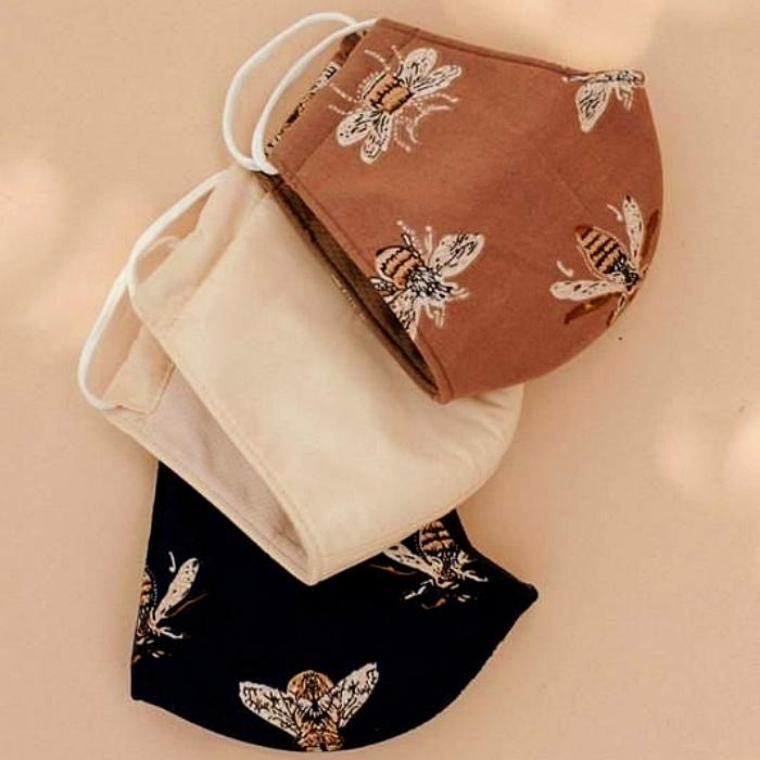 cubrebocas con diseños modernos, de animal print, estampado de flores, collar de cuentas