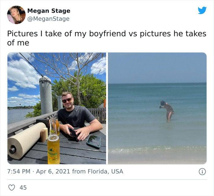 Pareja en la playa ;15 Veces que las fotos hechas por novias superaron a las de los novios