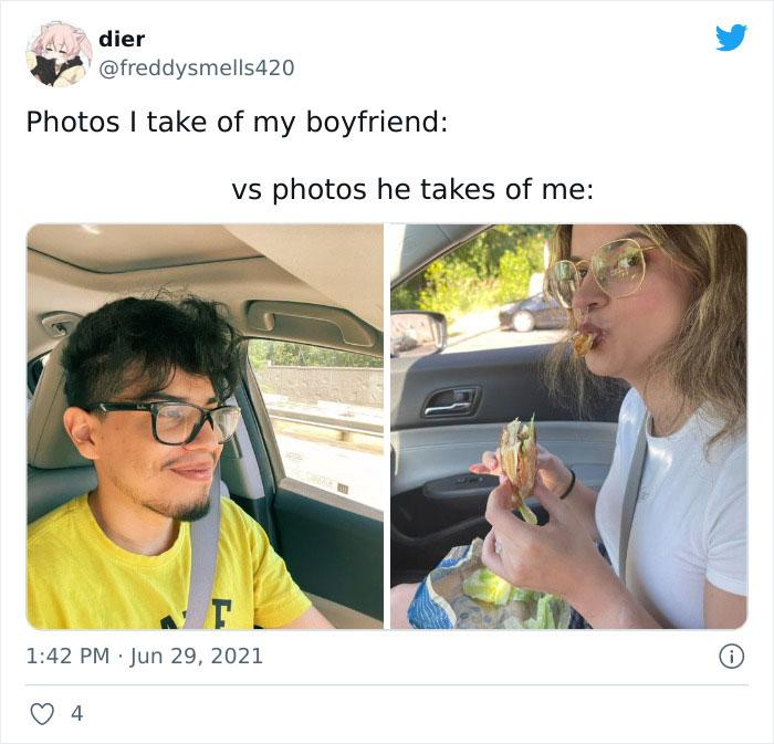 Pareja comiendo en el auto ;15 Veces que las fotos hechas por novias superaron a las de los novios