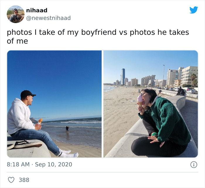 Pareja en el mar ;15 Veces que las fotos hechas por novias superaron a las de los novios