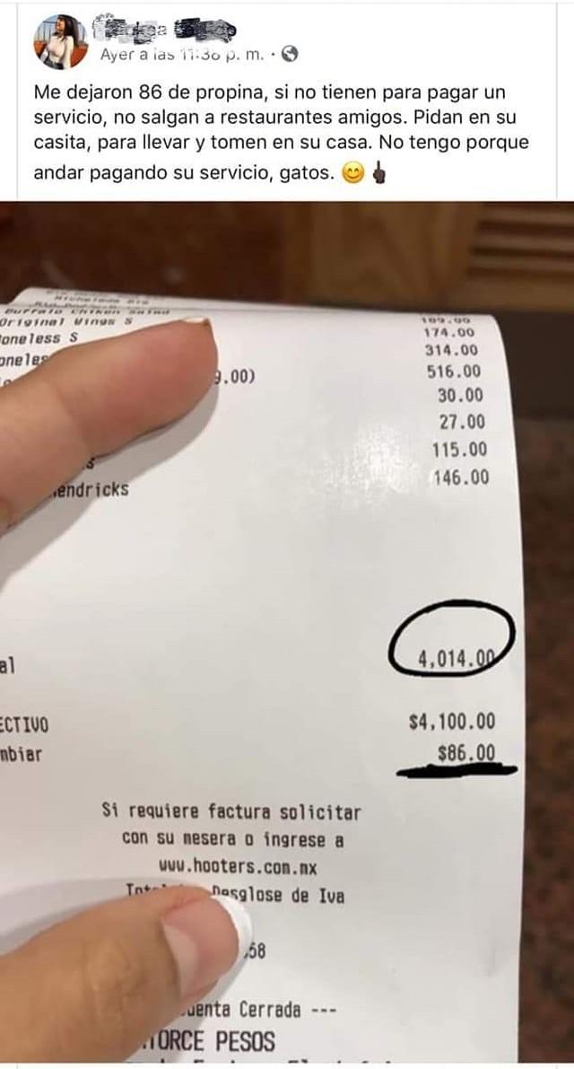ticket de compra; mesera se queja por la propina que recibió y desata comentarios en redes