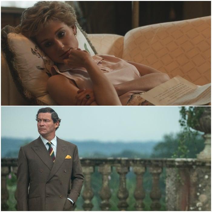 Elizabeth Debicki y Dominic West como la princesa Diana de Gales y el príncipe Carlos de Gales