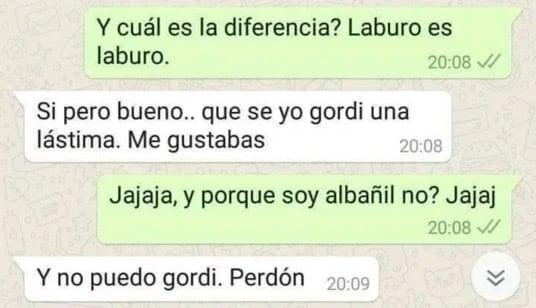Mensaje por whatsapp; rechaza a hombre por sel albañil y se vuelve viral