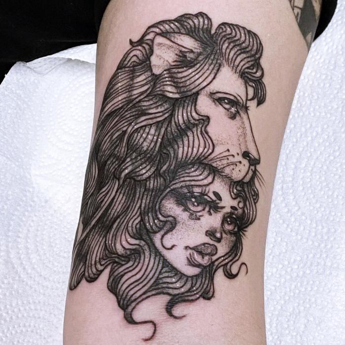diferentes diseños originales inspirados en el signo zodiacal Leo, tinta negra, con leones, estrellas, constelación