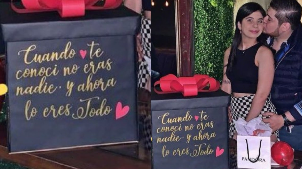 Caja de regalo; 'Cuando te conocí no eras nadie' Mensaje 'amoroso' desata polémica en redes sociales