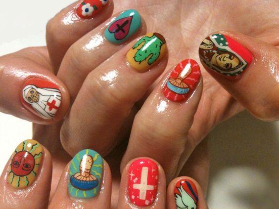 Uñas con virgen de guadalupe ;20 Ideas para darle a tus uñas un estilo mexicano y lleno de color