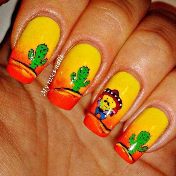 Uñas con atardecer en amarillo y naranja ;20 Ideas para darle a tus uñas un estilo mexicano y lleno de color