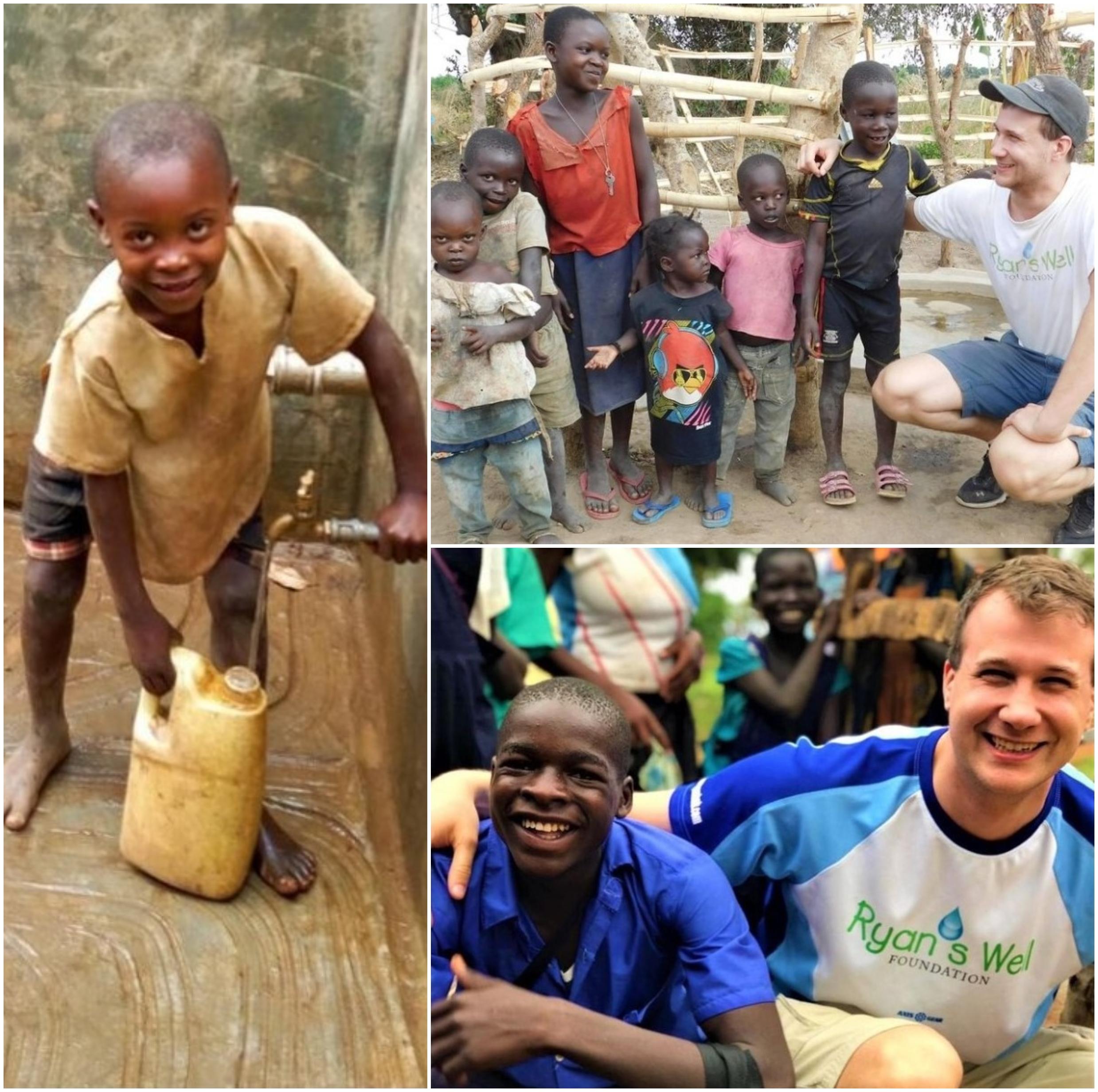 Joven llevando agua potable; A los 6 años llevó agua potable a África; ahora tiene su propia fundación