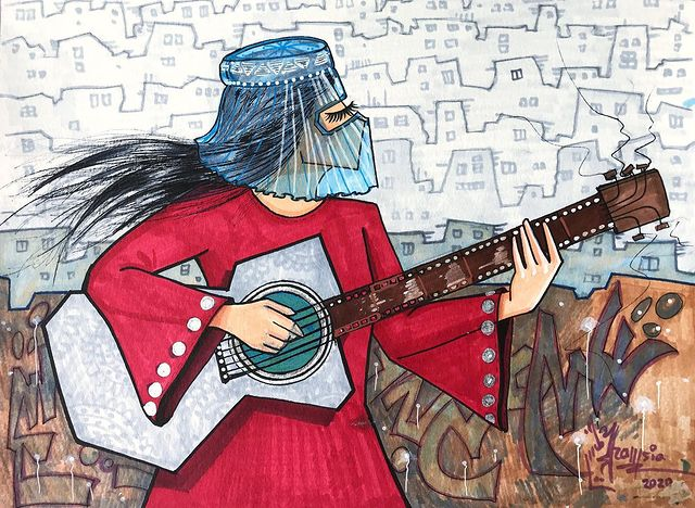 Pintura creada por Shamsia Hassani grafitera de Kabul