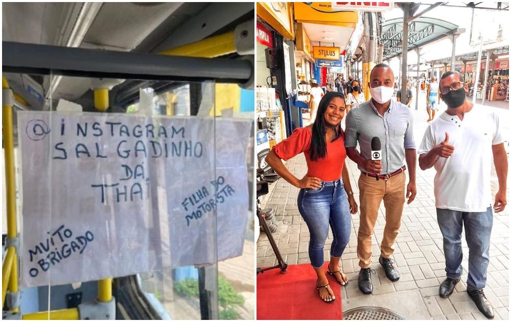 Anuncio en un autobús; Chofer de bus colgó un cartel para promocionar el negocio de su hija. Ya pasó los 45 mil seguidores