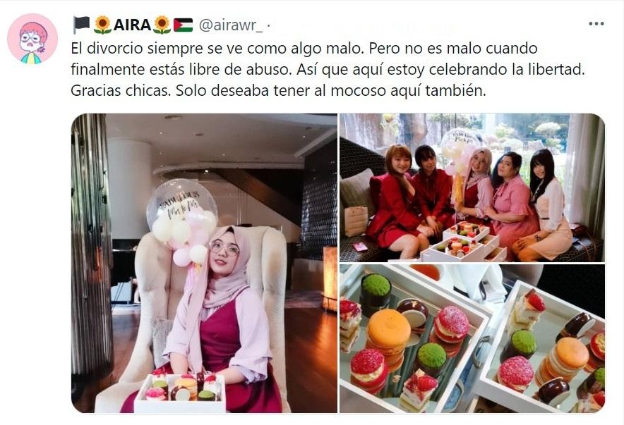 Tuit mujer celebra divorcio; Con una fiesta de té Mujer celebró con sus amigas su divorcio