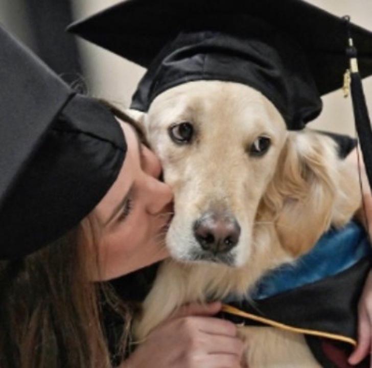 Chica besando a su perro en la mejilla; Dedicado perro lazarillo fue premiado en graduación de su dueña con discapacidad