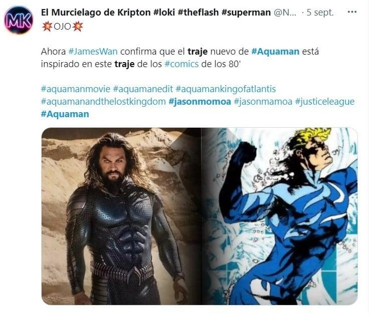 """tuit Jason Momoa presentó su traje para la nueva """"Aquaman"""". Su trabajado cuerpo se vuelve a lucir"""