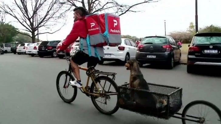 Hombre entregando comida junto a su perrito en una bicicleta