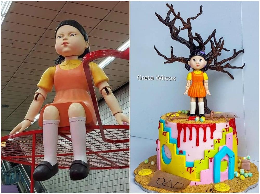 Pastel inspirado en El juego del calamar; La muñeca de 'El juego del calamar' ya tiene piñata y no sabemos si romperla o jugar luz roja - luz verde