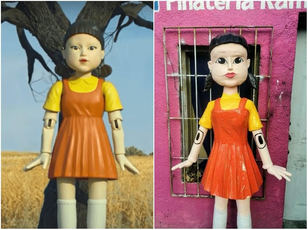 Piñata inspirada en el Juego del calamar; La muñeca de 'El juego del calamar' ya tiene piñata y no sabemos si romperla o jugar luz roja - luz verde