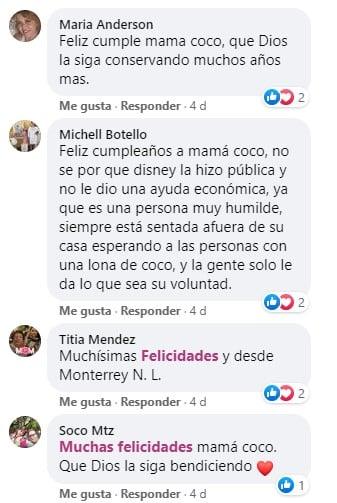 Comentarios en facebook festejando a mamá coco