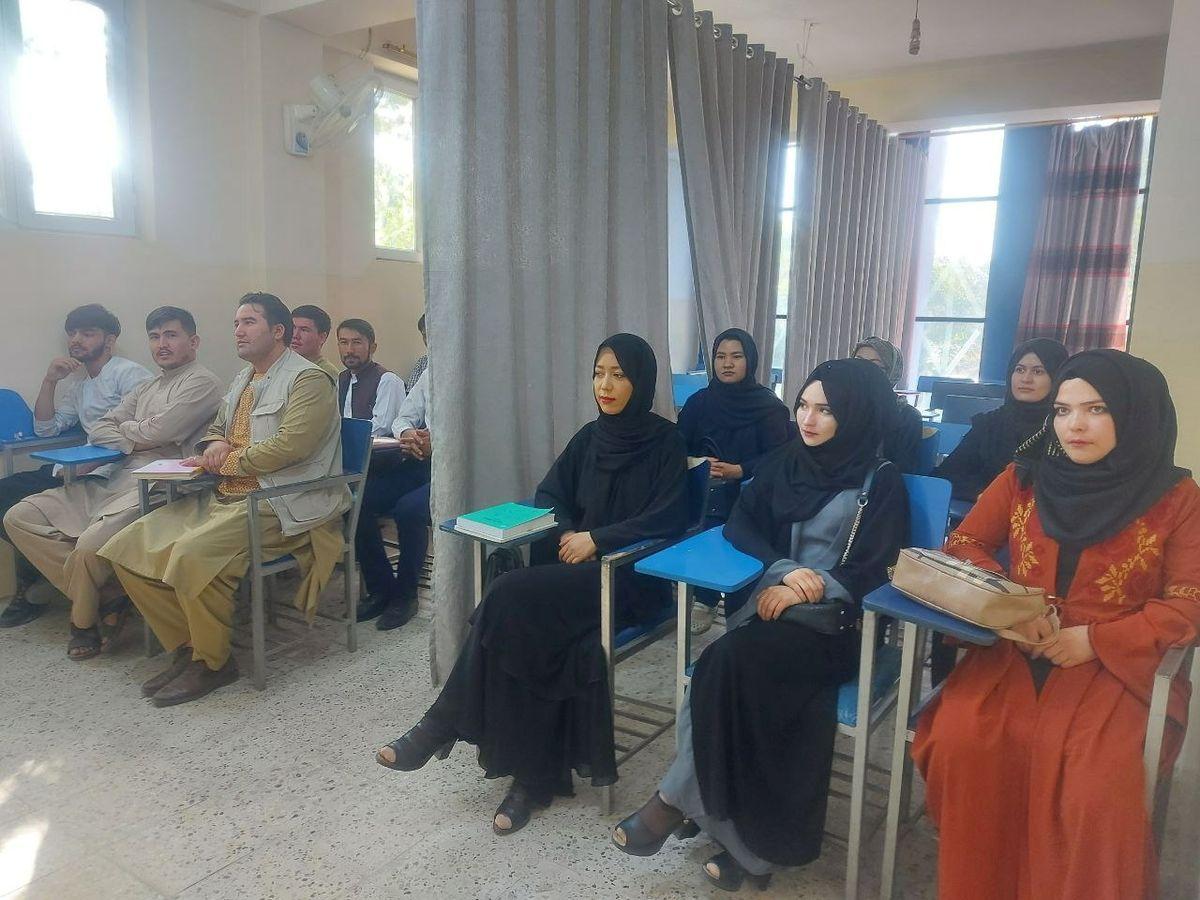 Mujeres afganas vuelven a clase separadas de sus compañeros hombres por una cortina