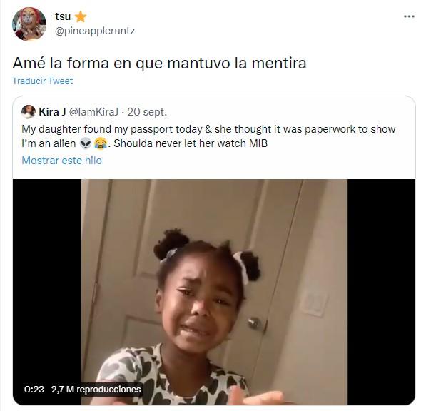 Comentarios en twitter sobre niña que pensó que su mamá era un extraterrestre