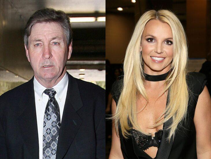 Britney Spears posando al lado de su padre