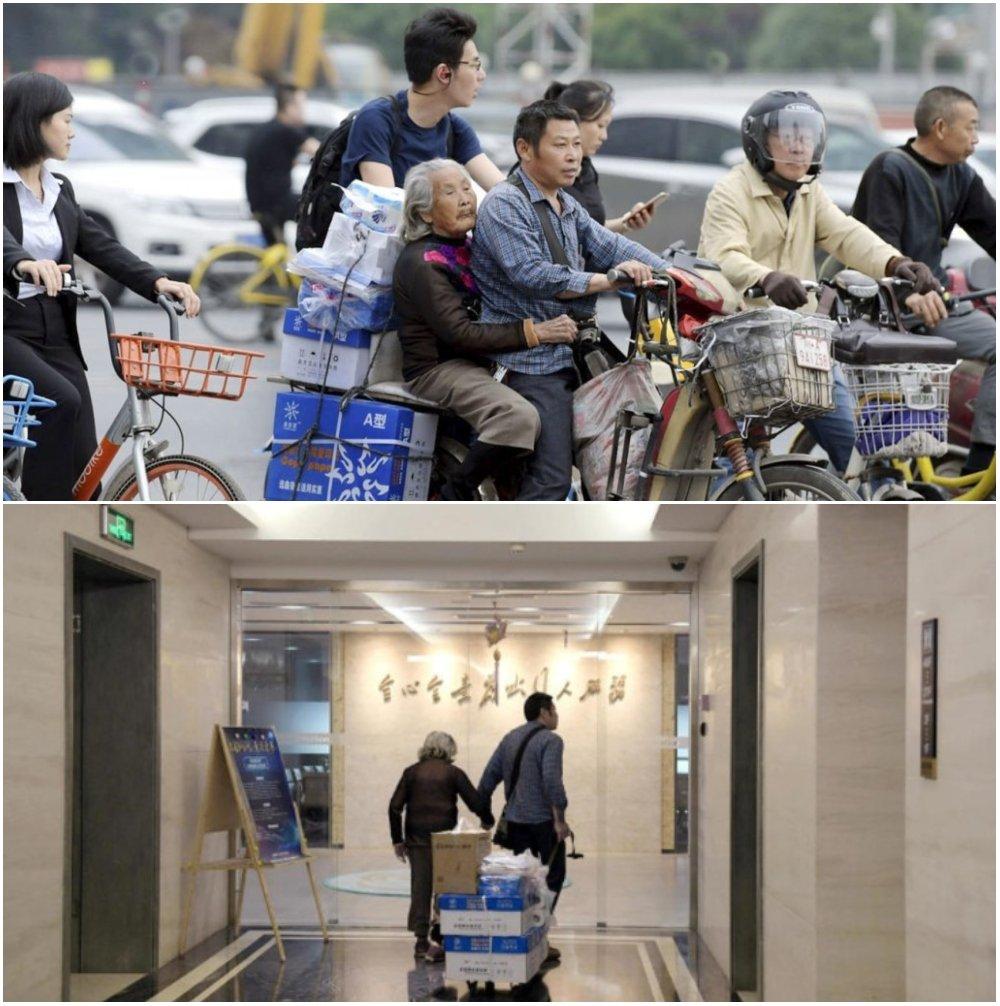 Madre e hijo haciendo entregas; Repartidor lleva a su madre de 92 años a trabajar junto a él