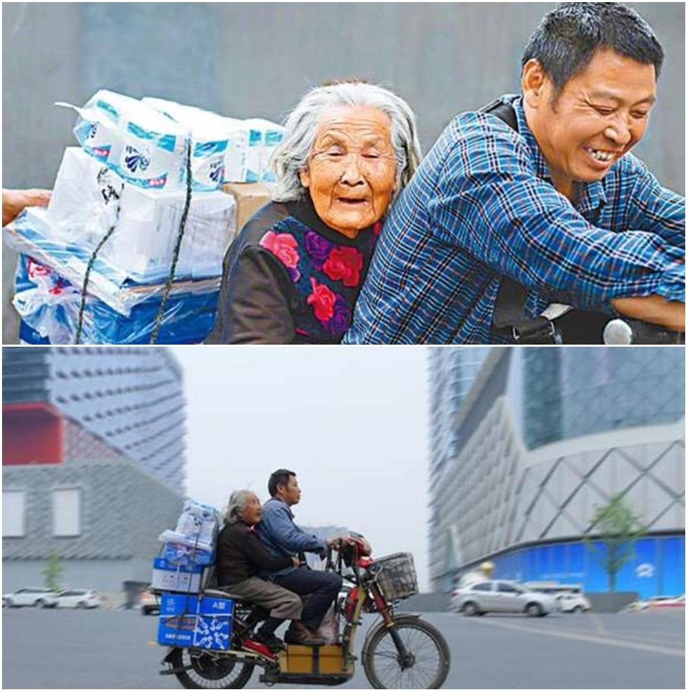 Madre e hijo viajando en moto; Repartidor lleva a su madre de 92 años a trabajar junto a él