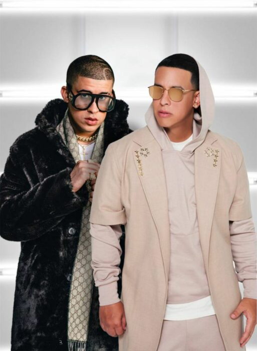 Daddy Yankee y Bad Bunny posando para Rolling Stones
