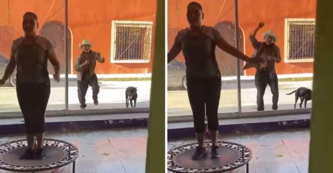chica haciendo ejercicio en trampolín; Abuelito sorprende al bailar junto a mujeres que hacen ejercicio y contagia alegría