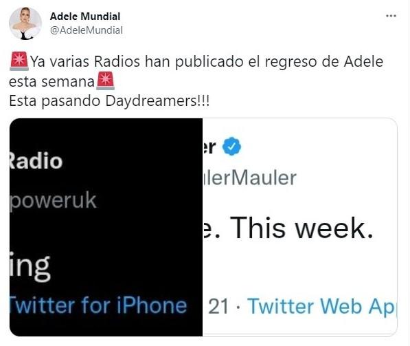 Tuits sobre Adele podría regresar a la escena musical con el disco '30'