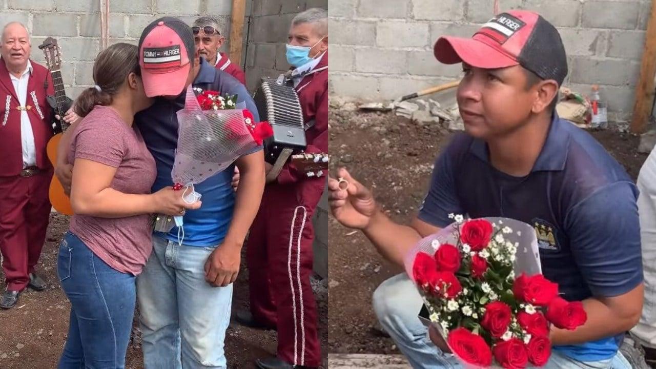 Hombre arrodillado pidiendo matrimonio; Albañil propone matrimonio a su novia en plena obra en construcción