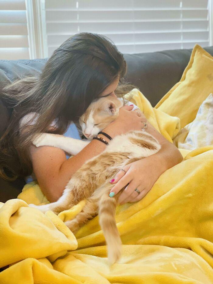 chica cargando un gato ;19 Mascotas rescatadas que te alegrarán el día
