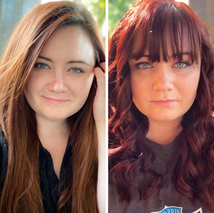 Chica cabello rojo antes y después de cortar su cabello;15 Cambios de cabello que te inspirarán a hacer lo tuyo