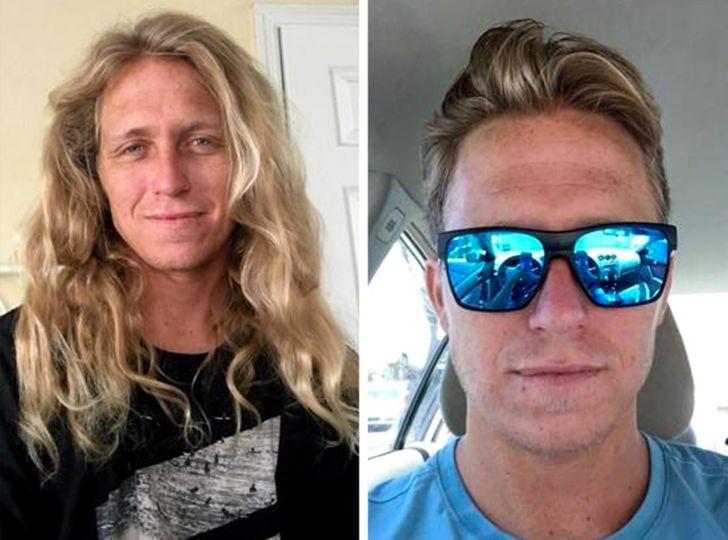 hombre rubio antes y después de cortar su cabello;15 Cambios de cabello que te inspirarán a hacer lo tuyo