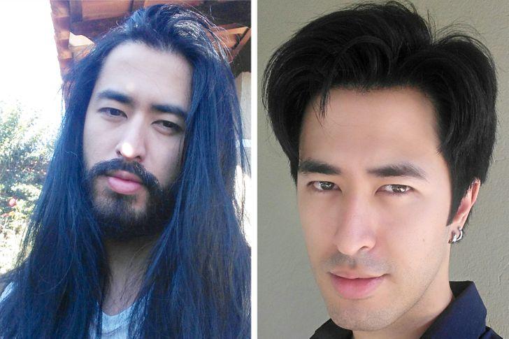 Hombre antes y después de cortar su cabello ;15 Cambios de cabello que te inspirarán a hacer lo tuyo