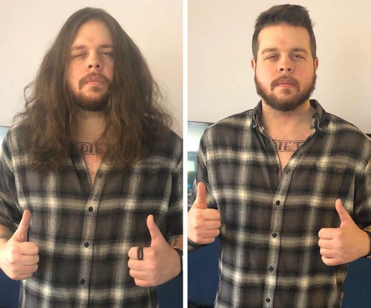 Chico castaño oscuro antes y después de cortar su cabello;15 Cambios de cabello que te inspirarán a hacer lo tuyo