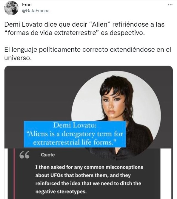 Tuit sobre Demi Lovato levanta polémica al decirque llamar 'aliens' a los extraterrestres es 'despectivo'