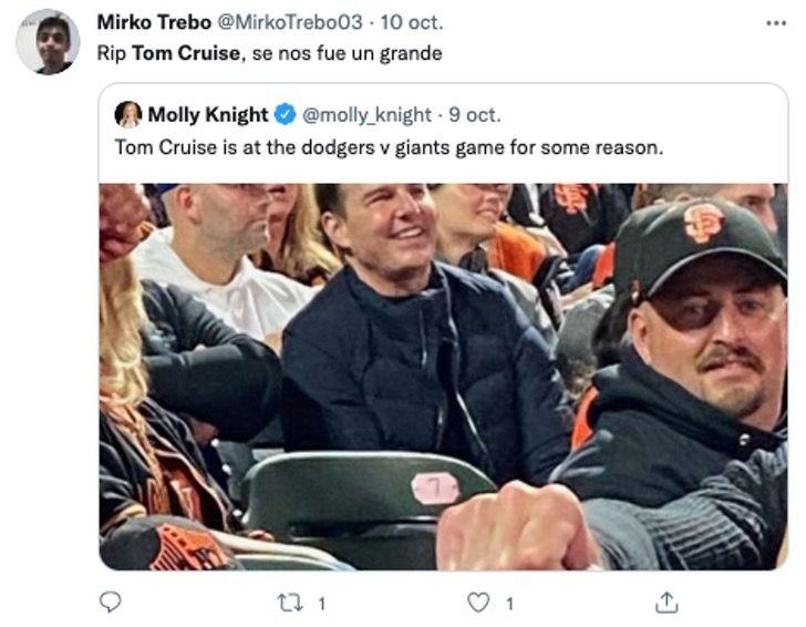 Tom Cruise en un estadio de Beisbol