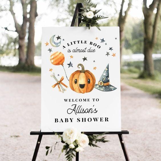 letrero de bienvenida ;18 Ideas para celebrar tu baby shower en Halloween
