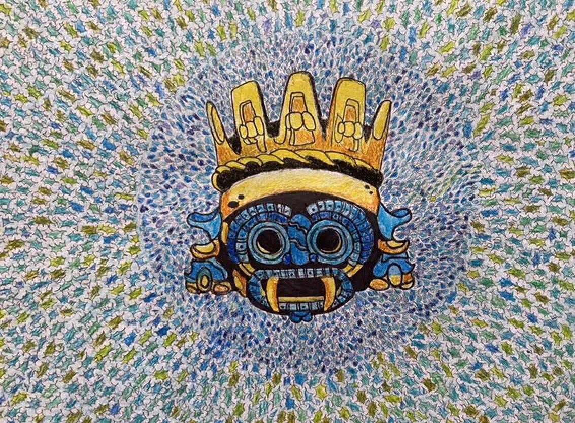 Dibujo del dios Tláloc; Niña mexicana gana concurso internacional con dibujo del dios de la lluvia