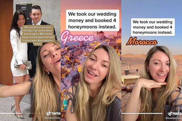 """Captura de pantalla Tik Tok; Novios cancelaron su costosa boda para tener 4 lunas de miel """"La mejor decisión de la vida"""""""