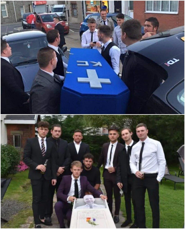 Grupo de amigos reunidos; Organizan funeral para su amigo porque ya no lo ven desde que tiene novia (1)