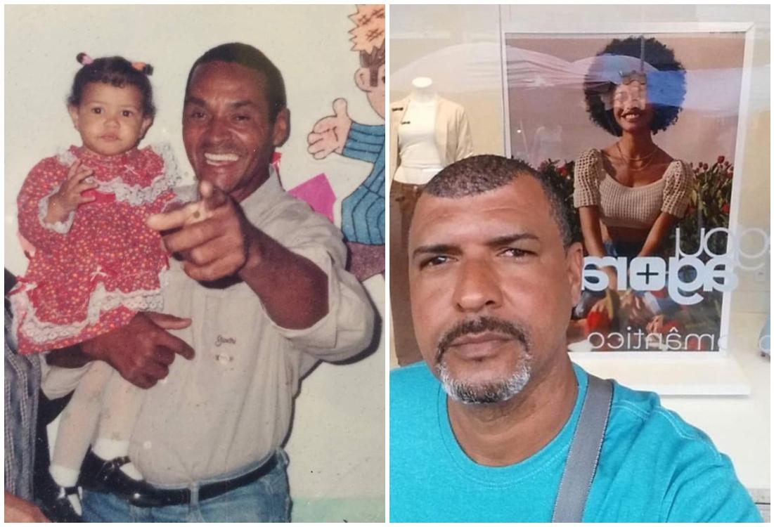 Papá e hija en el transcurso de los años; Papá orgulloso visita todos los días una tienda para ver la foto de su hija