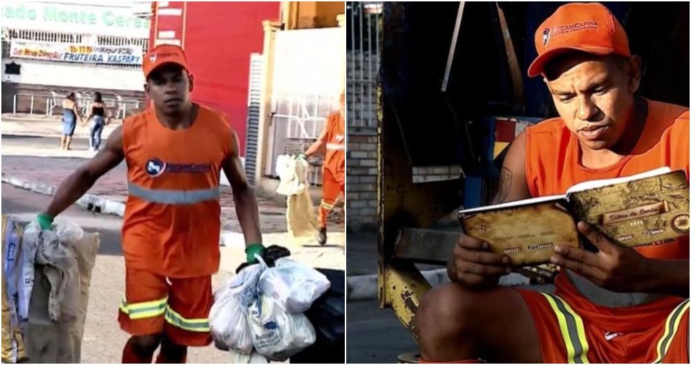 hombre leyendo; Recolector de basura recupera libros y crea una biblioteca
