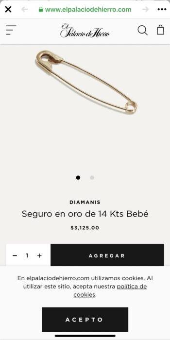 Imagen de venta; Tienda de lujo vende 'seguritos de oro' en 150 dólares y recibe críticas