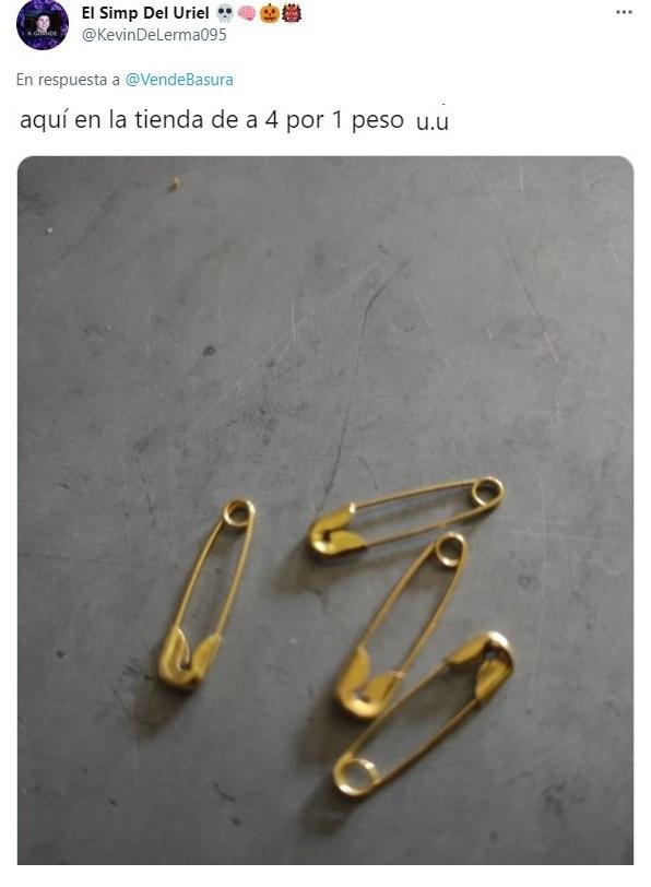 tuit sobre Tienda de lujo vende 'seguritos de oro' en 150 dólares y recibe críticas