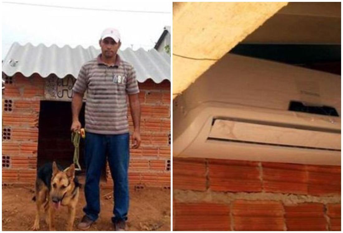 Hombre junto a su mascota; dueño coloca aire acondicionado en casa de su perro